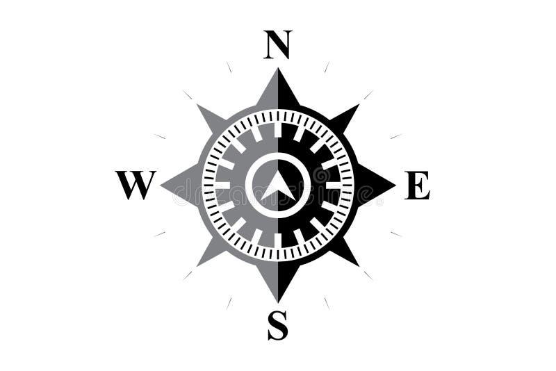 Svart kompass på vit royaltyfri illustrationer