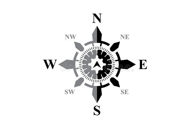 Svart kompass på vit stock illustrationer