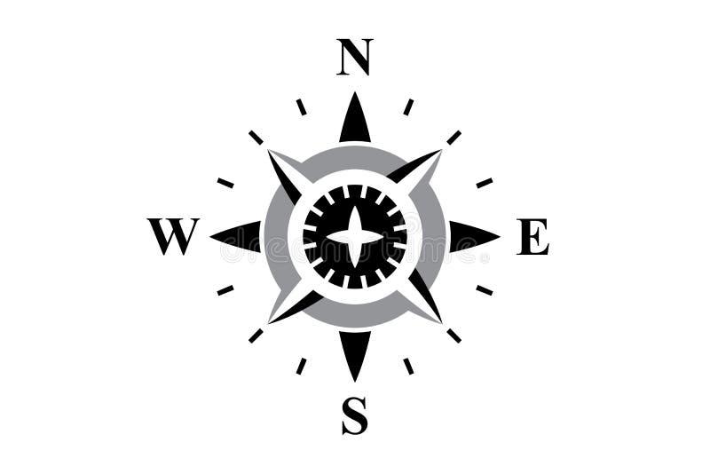 Svart kompass som isoleras på vit vektor illustrationer