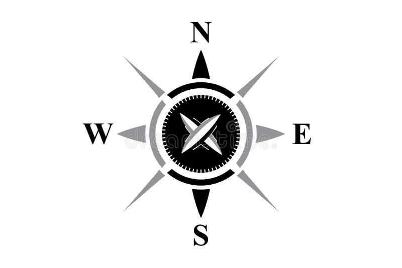 Svart kompass som isoleras på vit royaltyfri illustrationer