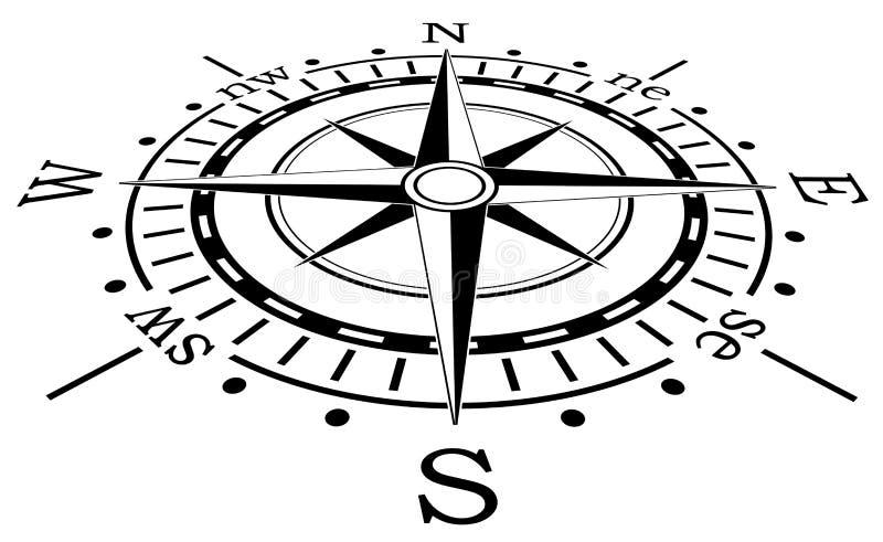 svart kompassvektor stock illustrationer