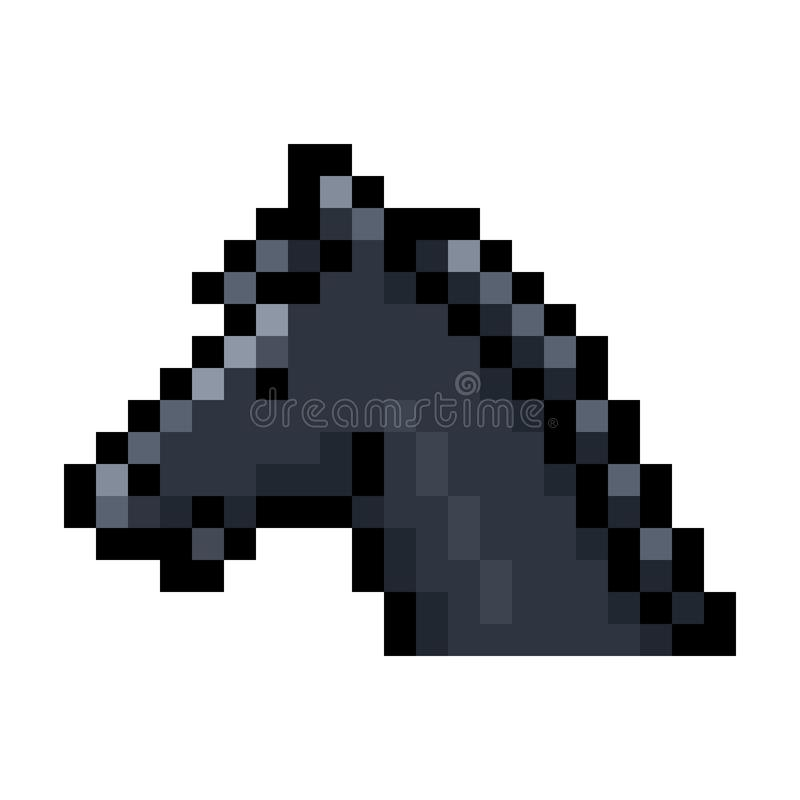 Svart konst för PIXEL för hästhuvud stock illustrationer