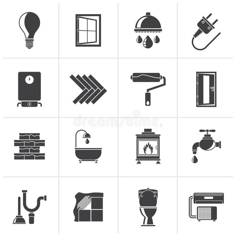Svart konstruktion och hem- renoveringsymboler vektor illustrationer