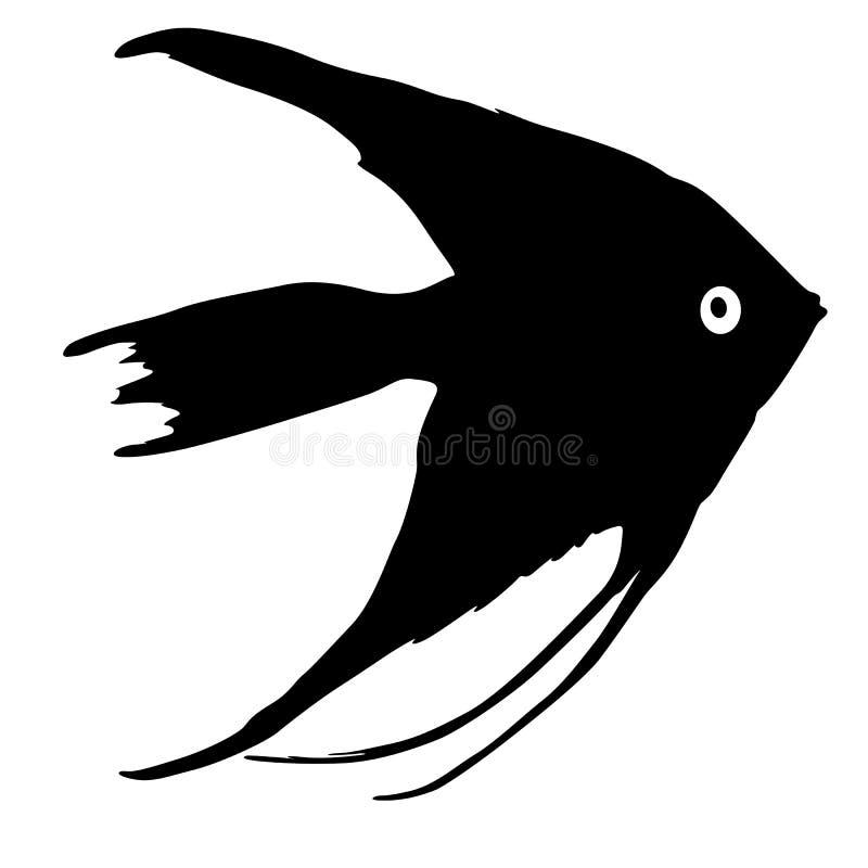 Svart kontur av akvariefisken på vit bakgrund royaltyfri illustrationer