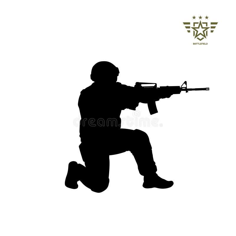 Svart kontur av att sitta den amerikanska soldaten USA armé Militär man med vapen Isolerad krigarebild stock illustrationer