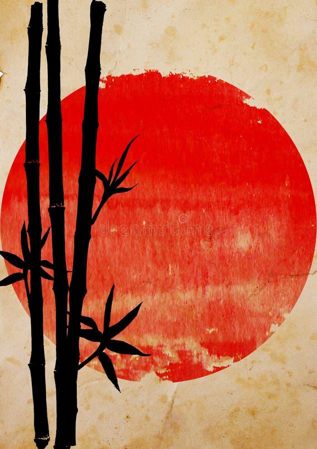 Svart kontur av bambuväxter på den stora röda solen royaltyfri illustrationer