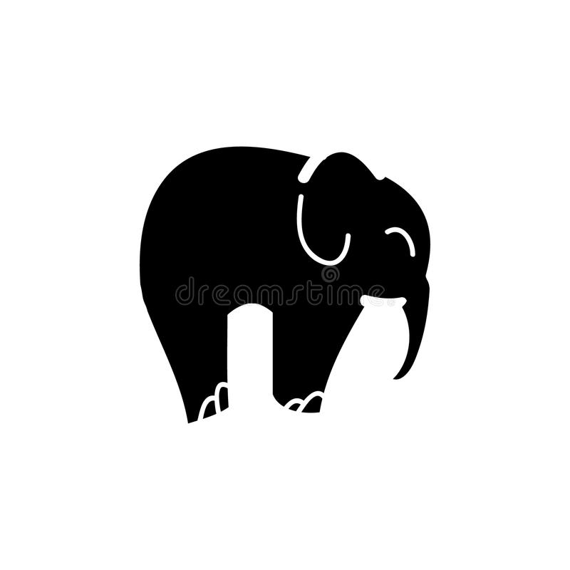 Svart kontur av en elefant royaltyfri illustrationer