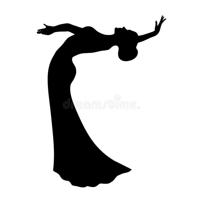 Svart kontur av en kvinna som dansar orientalisk bukdans stam- dans Arabisk dans vektor illustrationer