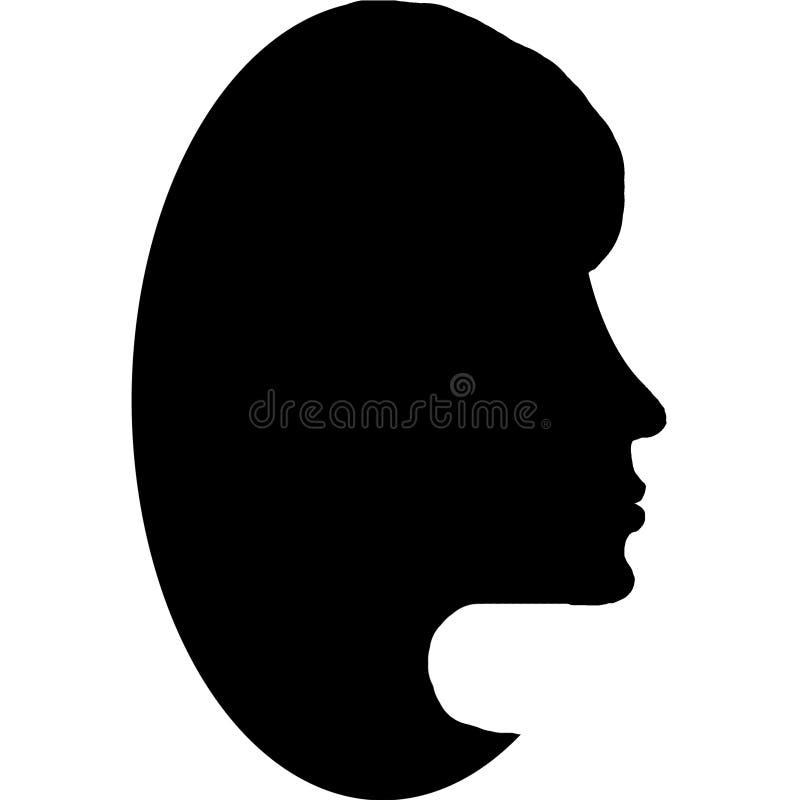 Svart kontur av en kvinnlig framsida vektor illustrationer