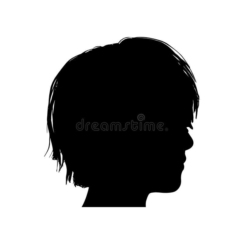Svart kontur av ett flickahuvud vektor illustrationer