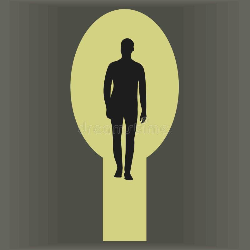 Svart kontur av ett manligt diagram i en gul stor nyckelhål med en grå bakgrund av en dörrvektorillustration vektor illustrationer