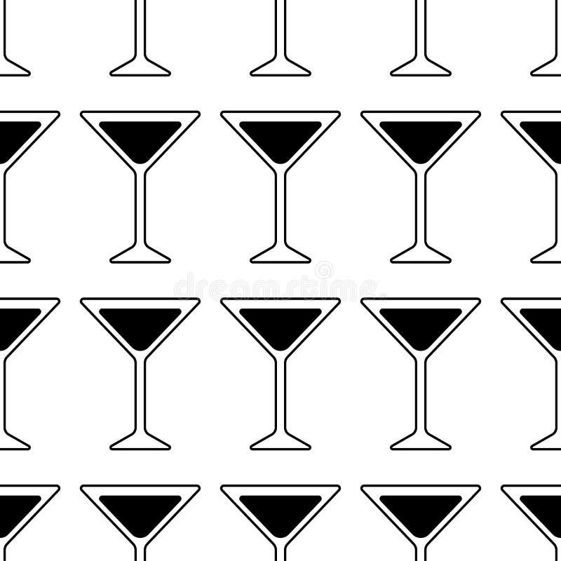 Svart kontur av ett Martini exponeringsglas Coctailsymbol seamless modell vektor illustrationer