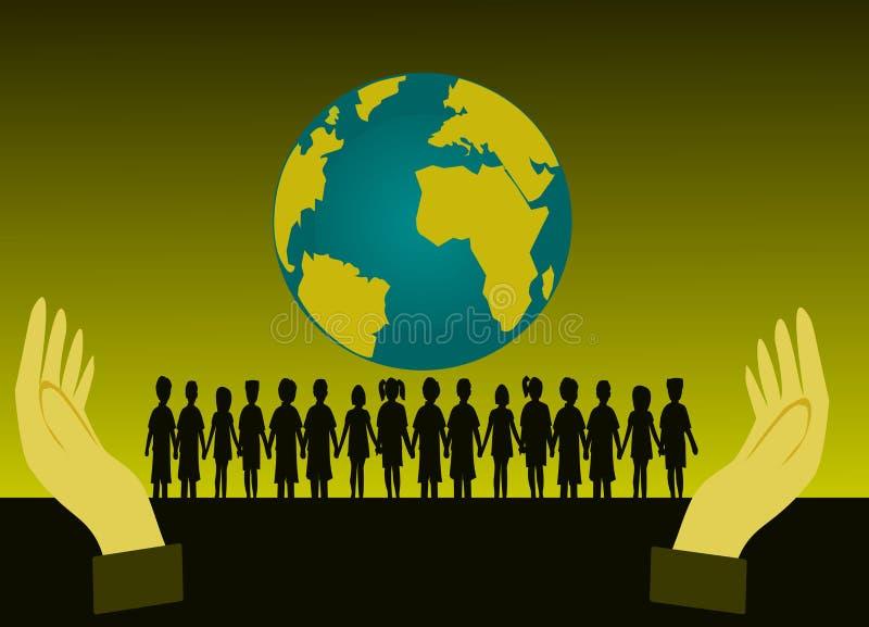 Svart kontur av gruppbarn som framme står av världen Jag har två händer stock illustrationer