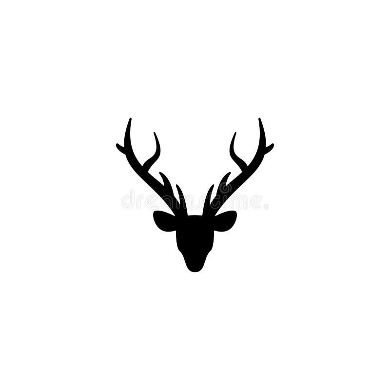 Svart kontur av hjorthuvudet med horn på kronhjort Plan symbol som isoleras på vit royaltyfri illustrationer
