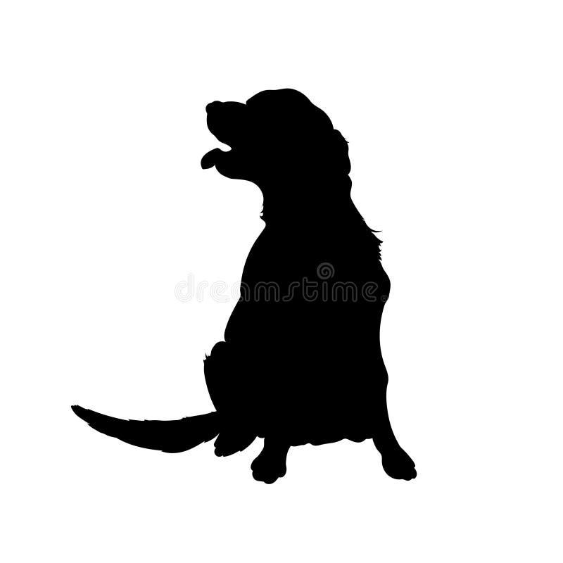Svart kontur av hunden Isolerad bild av apportörn Lantgårdhusdjur Veterinär- kliniklogo stock illustrationer