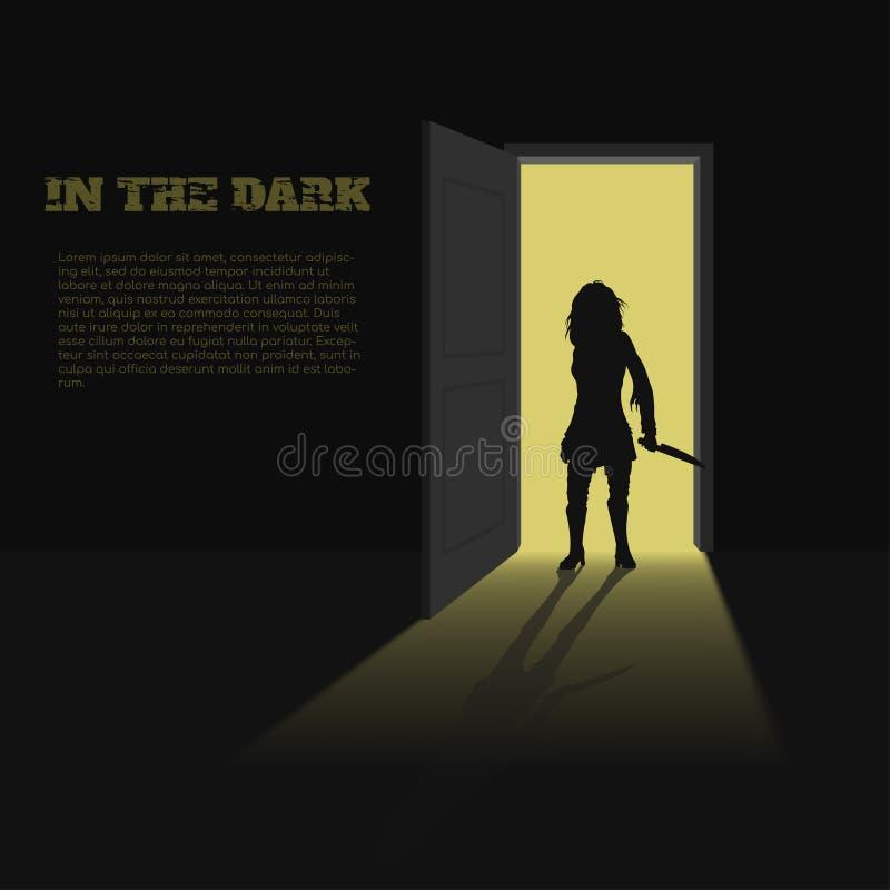 Svart kontur av kvinnan med kniven i hand på dörrbakgrund En affisch för bok, lek eller film En ruskig mördare royaltyfri illustrationer