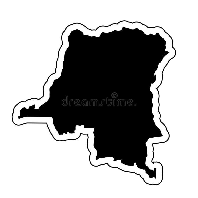 Svart kontur av landet Demokratiska republiken Kongo stock illustrationer