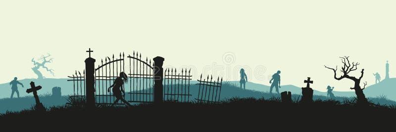 Svart kontur av levande död på kyrkogårdbakgrund Mardrömlandskap med dött folk Panorama av undeadmonstret royaltyfri illustrationer