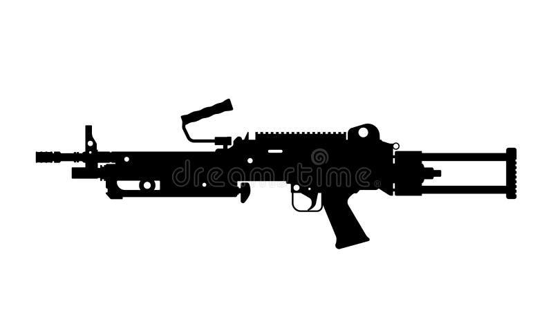 Svart kontur av maskingeväret på vit bakgrund Automatiskt vapen av armén Isolerat avbilda Militära ammunitionar stock illustrationer