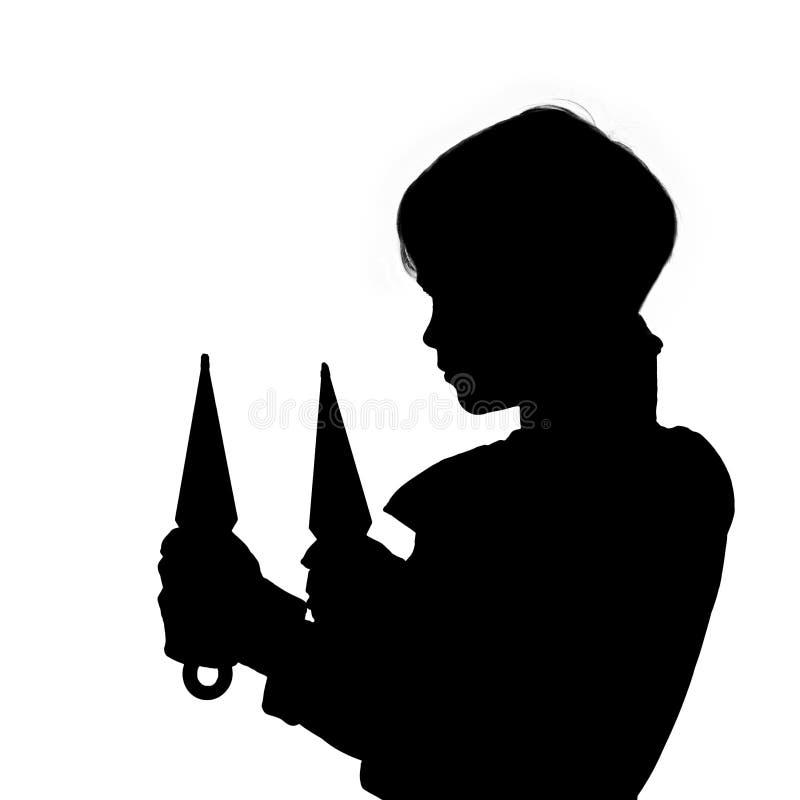 Svart kontur av ninjaen arkivfoto
