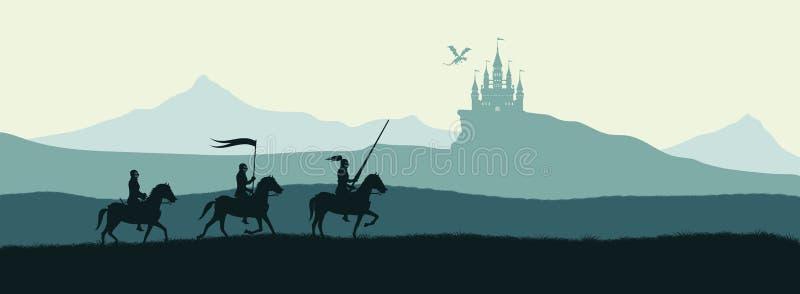 Svart kontur av riddare på bakgrund av slotten royaltyfri illustrationer