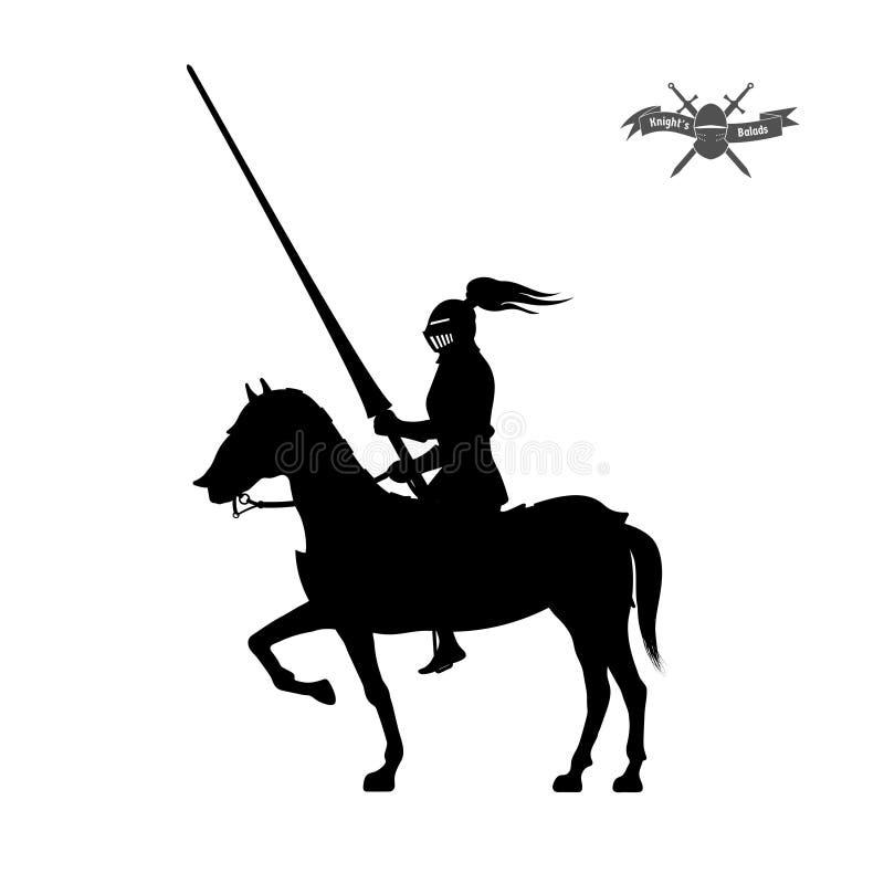 Svart kontur av riddaren på vit bakgrund Detaljerad bild av ryttaren med spjutet och harnesk stock illustrationer