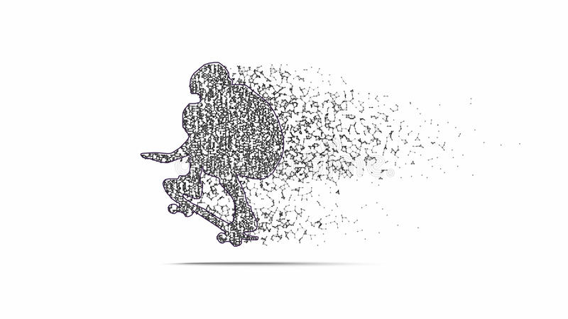 Svart kontur av skateboarderen royaltyfri illustrationer