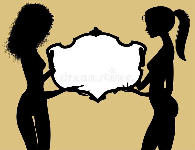 Svart kontur av två fina nakna flickor som rymmer en tappningram stock illustrationer