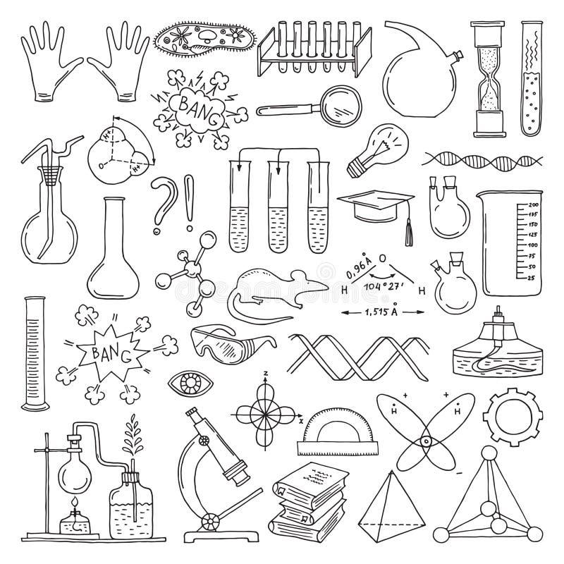 Svart kontur av vetenskapliga symboler Kemi- och biologikonst Uppsättning för utbildningsvektorbeståndsdelar stock illustrationer