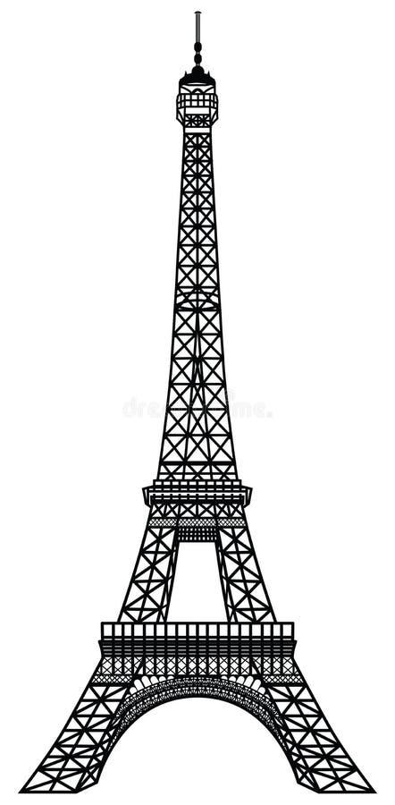 Svart kontur för Eiffeltorn royaltyfri illustrationer