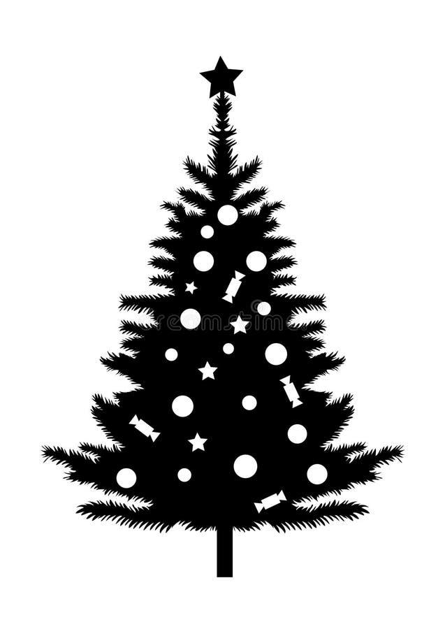 Svart kontur för julgran royaltyfri illustrationer