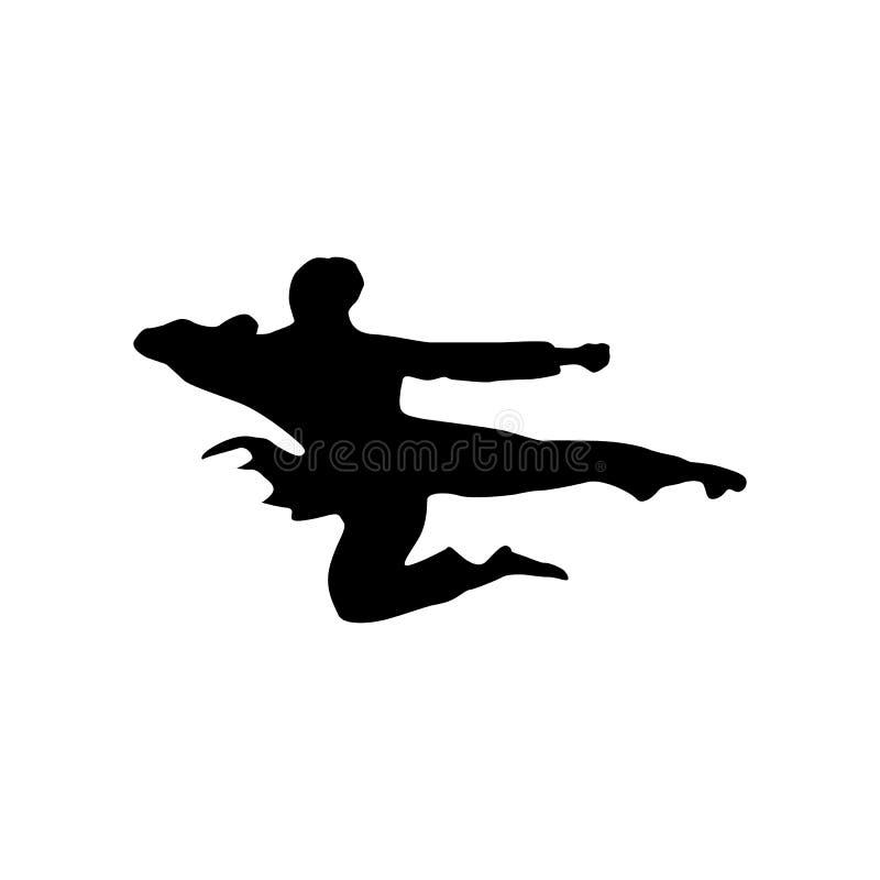 Svart kontur för karate royaltyfri illustrationer