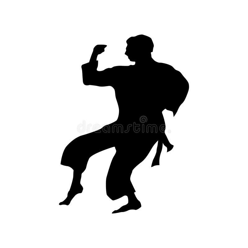 Svart kontur för karate stock illustrationer