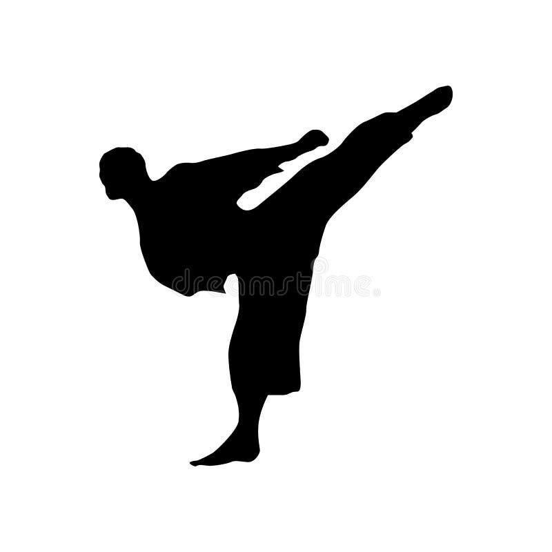 Svart kontur för karate vektor illustrationer