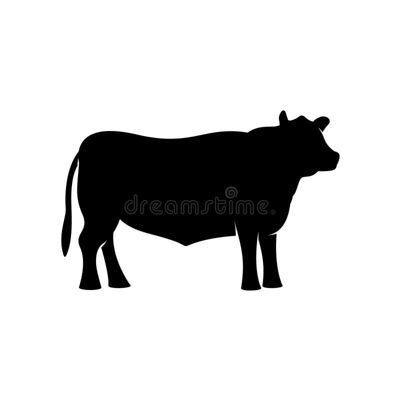 Svart kontur för vektor för angus nötkötttjur stående royaltyfri illustrationer