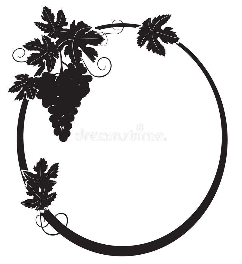 Svart kontur - oval ram med druvan stock illustrationer