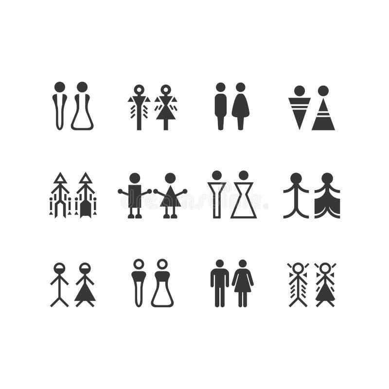 Svart konturman- och kvinnligtecken och symboluppsättning vektor illustrationer
