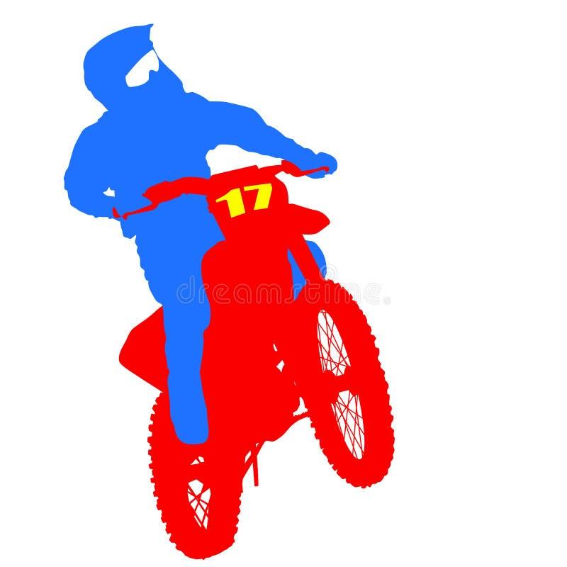 Svart konturmotocrossryttare på en motorcykel royaltyfri illustrationer