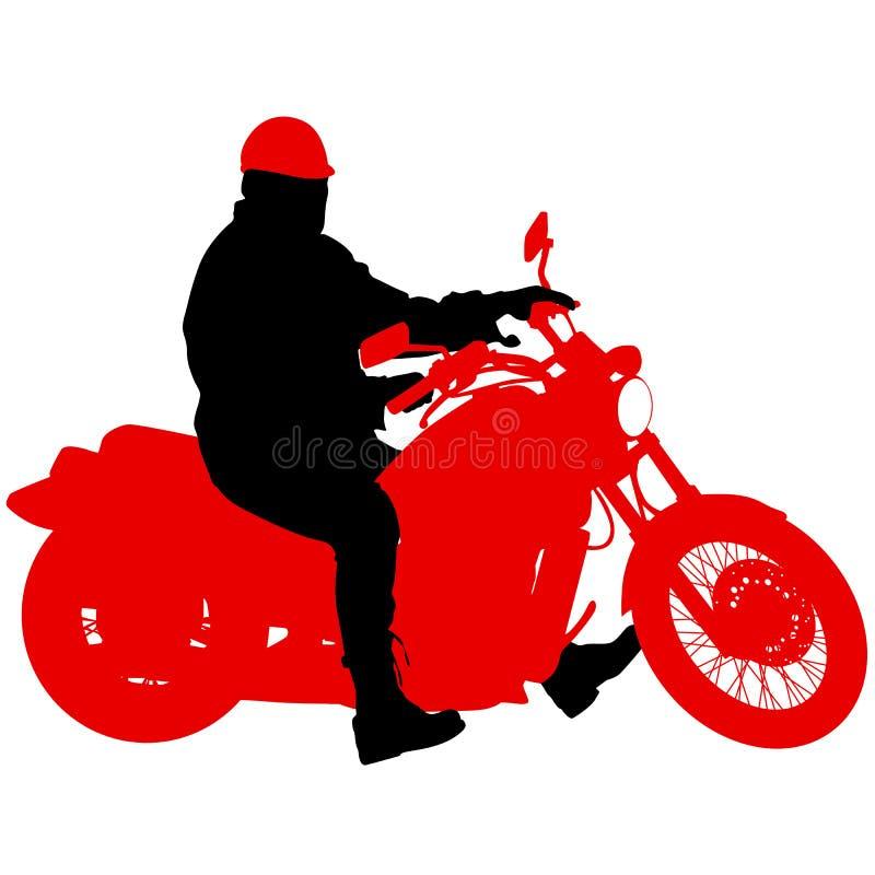 Svart konturmotocrossryttare på en motorcykel vektor illustrationer