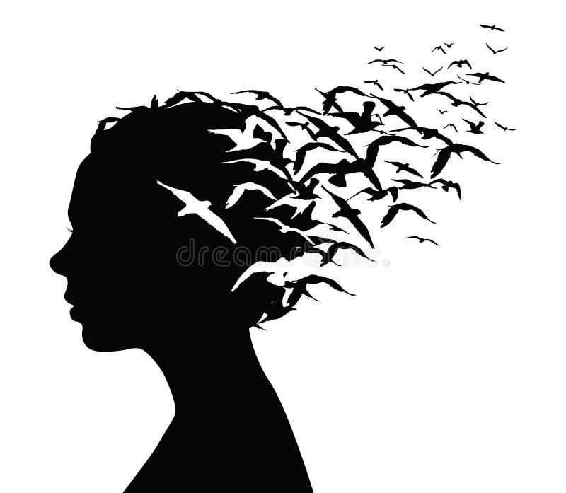 Svart konturstående av en nätt flicka med fåglar som flyger från hennes huvud - tankar, sinnesrörelser eller psykologibegrepp vektor illustrationer