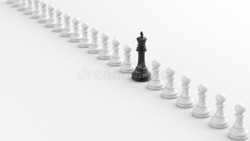 Svart konung av schack stock illustrationer