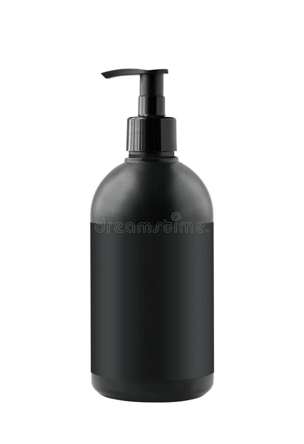 Svart kosmetisk behållare med den isolerade pumpen arkivfoton