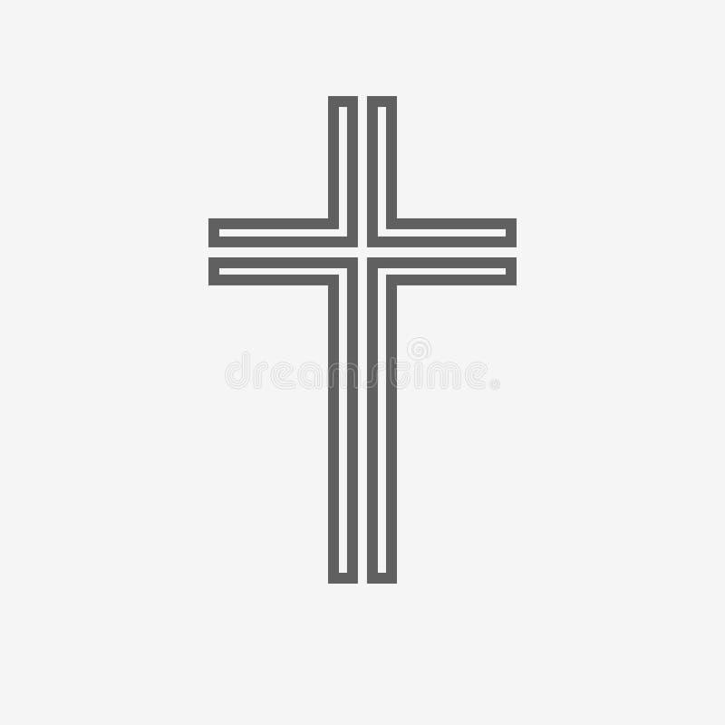 Svart kristenkorssymbol också vektor för coreldrawillustration stock illustrationer