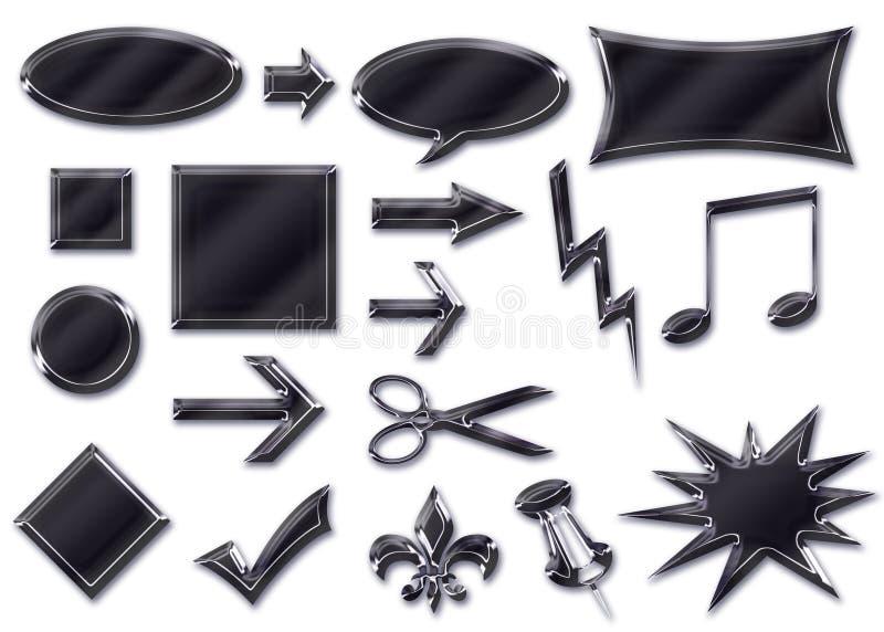 svart krom för knappar 3d stock illustrationer