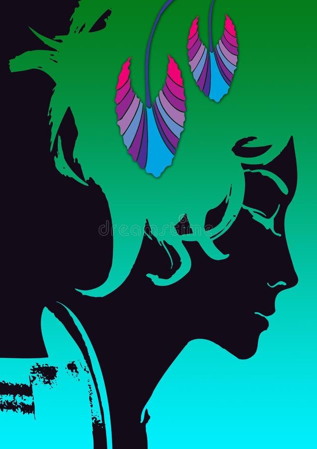 svart kvinna royaltyfri illustrationer