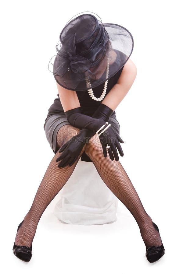 Download Svart kvinna fotografering för bildbyråer. Bild av stol - 3530345