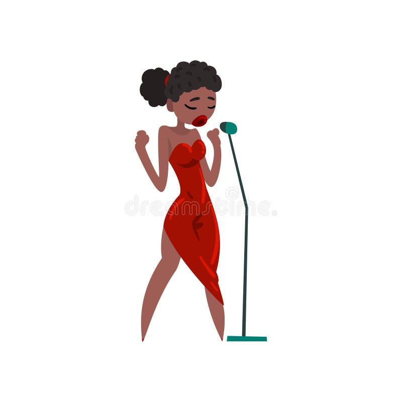 Svart kvinna i röd aftonklänning som sjunger med mikrofonen, härlig illustration för vektor för kvinnlig sångare för afrikansk am royaltyfri illustrationer