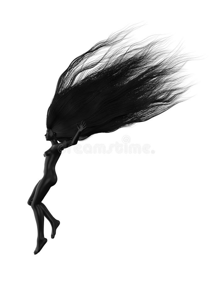 Svart kvinnligt tecken med långa hår illustration 3d royaltyfri illustrationer
