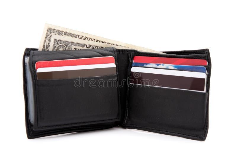 svart läderplånbok royaltyfria foton