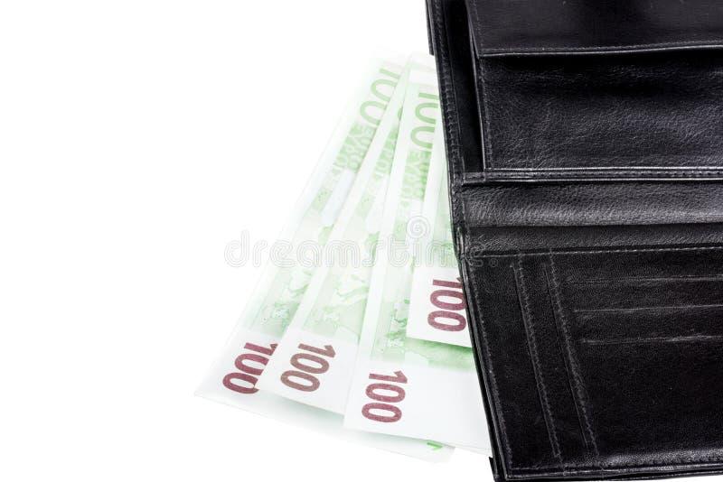 Svart läderplånbok med eurosedlar royaltyfri foto